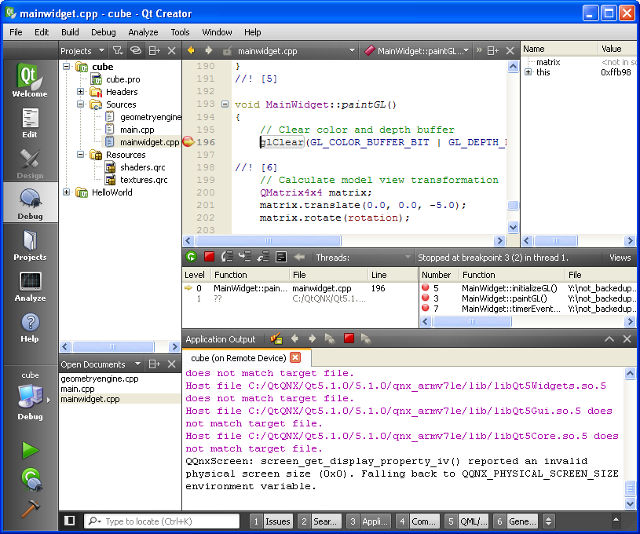 Screen grab of Qt Creator in a debugging session