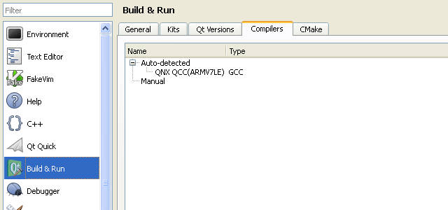 Screen grab of the Compilers tab in Build and Run options dialogue
