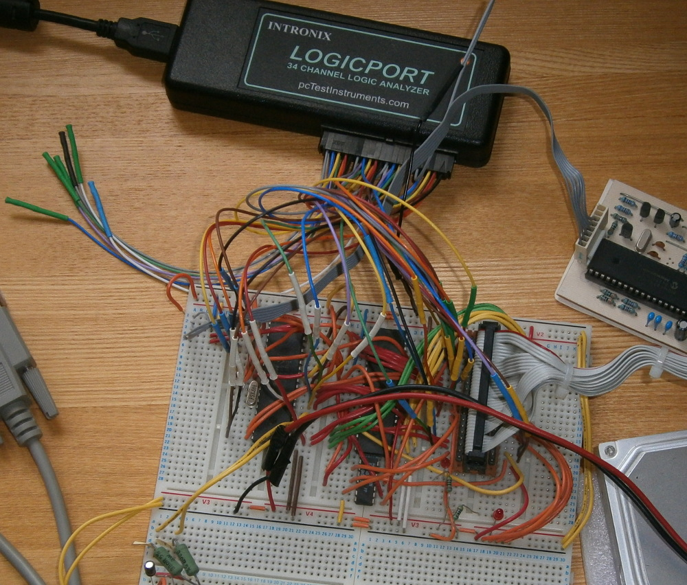 Photo of breadboard and logic analyser with its inputs connected to the PIC ATA circuit